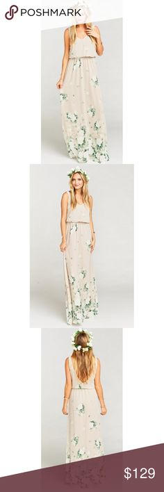 """Show Me Your Mumu Kendall Dress NWOT In this enchanting floral, elegant white roses litter a cool stone background with their lush green herbage wrapping around to make your eyes really stand out. A soft V neck and low back are ultra feminine and flatter every body. Chill enough for a little pointy toed bootie and classy enough for an elegant heel. 100% Poly Cotton. Lined to ground, no slit. Elastic waist. Bouquet.  Approx. Measurements: Waist: 18.75"""" Skirt Length: 44"""" Total length flat…"""