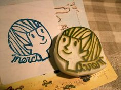 'Merci' Handmade Rubber Stamp by@Talktothesun