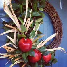 Autumn <b>Apple</b> <b>Wreath</b> ~ adding sprigs of wheat, cinnamon sticks is a ...