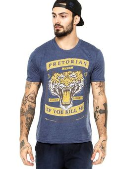 Camiseta Manga Curta Pretorian Performance Tiger Azul - Marca Pretorian…