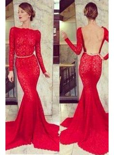 74c310a82b6 Shop affordable Backless Lace Mermaid Prom Dresses 2018 Bateau High Neck  Long Sleeve Sheer Party Gowns With Court Train at June Bridals!