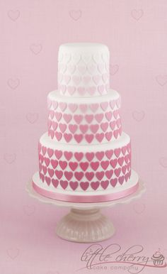 Pink Ombre Heart Wedding Cake