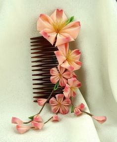 Beautiful silk hand-dyed Grand Sakura Kanzashi - $100