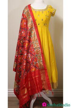 Yellow Raw Silk Anarkali with Ikat Dupatta - SnehaStudio Party Wear Indian Dresses, Indian Gowns Dresses, Dress Indian Style, Event Dresses, Salwar Designs, Kurti Neck Designs, Kurti Designs Party Wear, Kalamkari Dresses, Ikkat Dresses