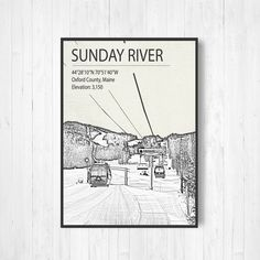 Sunday River Maine Ski Resort Print by Printed Marketplace Rustic Frames, Modern Frames, Sunday River Maine, Ski Posters, Hanging Canvas, Wooden Picture, Moda Emo, Skiing, Vibrant Colors