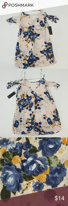 NWT Blush Floral mini ruffle sleeve dress sz S Brand new with tags, in new condition. Blush dress with blue and yellow floral print. Sold as dress, but is short enough that it could also be worn as a tunic top. Adjustable straps and off the shoulder ruffle sleeve. Size S. Forever 21 Dresses Mini