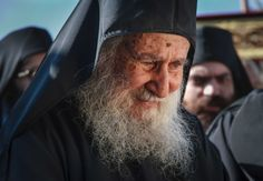 "A disciple asked an elder, ""Elder, why are you happy all day long?""  The elder replied, ""Because all night long I weep for my sins before God.""  In the photo, Elder Joseph of Vatopaidi  quotes 
