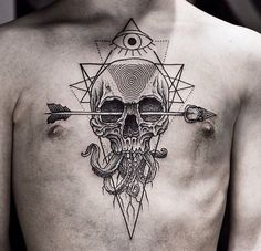 Skull arrow tattoo