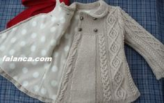 japanese knitting girl coat jacket cables - Turkish site but no pattern. link no longer works :( Baby Knitting Patterns, Knitting For Kids, Crochet For Kids, Baby Patterns, Hand Knitting, Knit Crochet, Crochet Blouse, Clothes Patterns, Knitting Needles