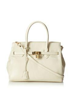 Zenith Women's Tote Bag with Lock, Bone\ $272