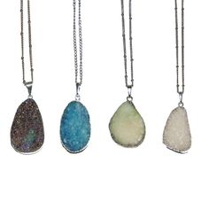 Silver Plated Agate Crystal Necklaces