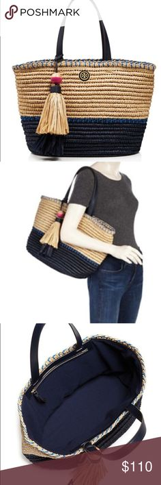 Tory burch woven tote bag with tassels Nice used condition. Authentic, comes with dusk bag. Very roomy Tory Burch Bags Totes