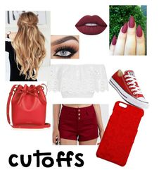 """""""Red summer look"""" by kenziirwin ❤ liked on Polyvore featuring Miguelina, Refuge, Lime Crime, Converse, Dolce&Gabbana, Mansur Gavriel, jeanshorts, denimshorts and cutoffs"""