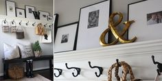 Classic black & white gallery frames on a ledge - from the delightful world of Holly Mathis Interiors