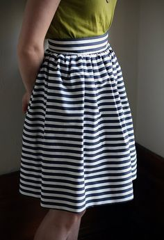 Great skirt tutorial! This should be easy to lengthen...in a knit it would be a great everyday skirt!