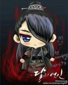 Oh gosh, it's a chibi Wang So from Scarlet Heart: Ryeo! Kdrama, K Pop, Moon Lovers Drama, Scarlet Heart Ryeo, Chibi, Samurai, Wang So, Fanart, Lee Joon