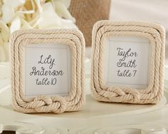 Cute and clever detail for your nautical or beach themed wedding from First Avenue Wedding Favors - Nautical Rope Photo Frame Favor, $3.50, always volume discounts! (http://www.firstavenueweddingfavors.com/nautical-rope-photo-frame-favor/) #nauticalthemedweddingfavors