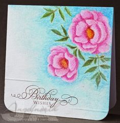 no line watercoloring, Etched Flowers (Hero Arts), Sentiment from Big Day Today (Waltzingmouse Stamps), Ambrosia Iron
