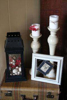 Spring vignette...note fill lantern with pretties....DONE...Love to fill with seasonal pretties