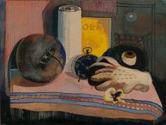 Felix Nussbaum - Still Life with Mask, Glove and Football 1940 Art Football, George Grosz, Still Life Artists, Italian Painters, Jewish Art, African Masks, Arts Ed, Macabre, De Chirico