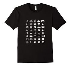 Men's Traveller T-shirt with 40 Icons To Communicate 2XL Black