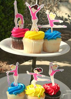 Gymnastics Party Cupcake Toppers Set of 12 by PaperPartyParade, $6.00