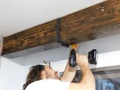 home accessories Wood ceilings - Wood Ceiling Beam Straps - Leah and Joe: Home DIY Projects & Crafts Fake Beams Ceiling, Fake Wood Beams, Faux Wooden Beams, Wooden Beams Ceiling, Metal Beam, Faux Beams, Plank Ceiling, Wood Ceilings, Ceiling Lighting