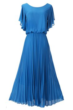 Lovely Cerulean Blue Maxi Dress - Maybe just a big shorter on the skirt, though? Just below the knee.