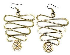 Etsy :: Your place to buy and sell all things handmade Big Earrings, Drop Earrings, Statement Earrings, Solid Brass, Etsy Seller, Copper, Bangles, Spiral, Silver