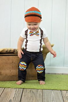 THANKSGIVING Baby Boy Bow Tie Bodysuit with Suspenders.  Harvest Plaid.  Harvest Chevron.  Fall Photo Prop, Family Pictures, Fall Holiday by shopantsypants on Etsy https://www.etsy.com/listing/202965730/thanksgiving-baby-boy-bow-tie-bodysuit