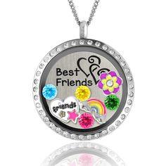 "Girls Charm Necklace Best Friends ""Friends Heart"" Floating Locket Charm Necklace"