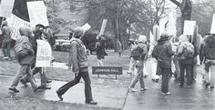 Protests on campus over the proposed tuition hike during the 1975-76 school year at the UO. From the 1976 Oregana (University of Oregon yearbook). www.CampusAttic.com