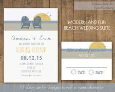Beach Wedding Invitation Set - Destination Wedding Invites with Beach Adirondack Chairs Rustic Beach Wedding Suite Printable Digital Files by NotedOccasions