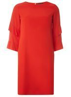 Womens Red Ruffle Sleeve Shift Dress- Red