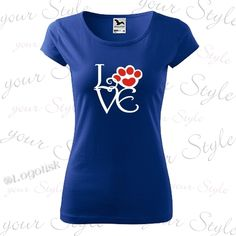 Dámské trendy tričko s motivem Love  a stopy kočky, výběr v mnoha atraktivních barvách, zakázkový potisk Trendy, Your Style, V Neck, Tops, Women, Fashion, Moda, Fashion Styles, Fashion Illustrations