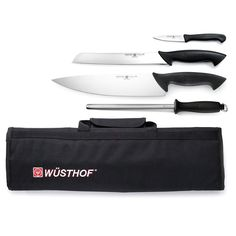 Crafted in Solingen, Germany, the Wusthof PRO Starter Knife Roll Set is comprised of must-have kitchen cutlery for everyday use. Knives feature high-carbon stainless steel blades plus ergonomically-shaped, non-slip handles for comfortable use. Best Kitchen Knives, Kitchen Cutlery, Wusthof Knives, Cooks Knife, Cooking Oatmeal, Cooking Stove, Cooking Wine, Knife Storage, Professional Kitchen