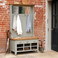 Caldecote French Grey Hall Tidy - The Cotswold Company Shoe Storage Porch, Coat And Shoe Storage, Bench With Shoe Storage, Shoe Bench, Scarf Storage, Storage Benches, Coat Stand Hallway, Hallway Coat Storage, Hall Tree Bench