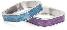 """Betsey Johnson """"Heaven's to Betsey"""" Glitter Square Bangle Bracelet / purple and teal colored glitter square bangle bracelets with silver tone details, set of 2 Bracelet Set, Bangle Bracelets, Bangles, Teal Colors, Crazy Shoes, Selling On Ebay, Betsey Johnson, Glitter, Pendants"""