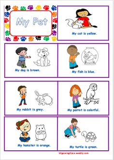 MY PET paper can be used both as a worksheet and a mini book craft activity. Students will colour the animals and cut them to make a mini book.Pets names and. English Worksheets For Kindergarten, 2nd Grade Worksheets, School Worksheets, English Book, English Lessons, Learn English, Animal Activities, Classroom Activities, Modulo 2