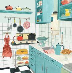 Valesca van Waveren's color palette for kitchen. Kitchen Drawing, Illustration Noel, Guache, Gouache Painting, Food Illustrations, Aesthetic Art, Painting Inspiration, Cute Art, Illustrators