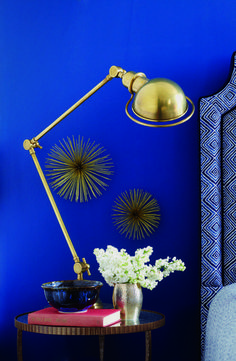 A shocking blue wall in the bedroom - Love these sea urchins!