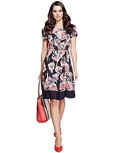 0b21b4e290 Holiday - Mantaray Navy floral jersey dress- at Debenhams.com ...