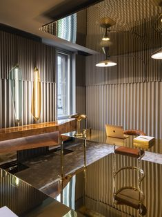Gold Office at Vogue Italia Offices for Design Week Milan, Italy. Gold Office at Vogue Italia Offices for Design Week Milan, Italy. Ana Kras, Zaha Hadid Design, Gold Office, Ceo Office, Style Deco, Parisian Apartment, Vogue Living, Asian Decor, Milan Design
