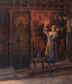 Lighting the candles Russian Painting, Russian Art, Greece Painting, Name Paintings, Christian Artwork, Exotic Art, Classic Paintings, Greek Art, Historical Images