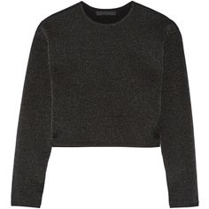 Alexander Wang Cropped wool-blend sweater ($265) ❤ liked on Polyvore featuring tops, sweaters, black, alexander wang top, loose fitting tops, loose fitting crop top, loose fit tops and boxy top