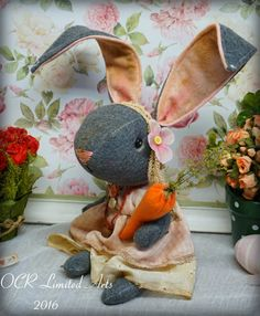Primitive Folk Art Jenny B Bunny Doll  OOak  by OCRLimitedArts