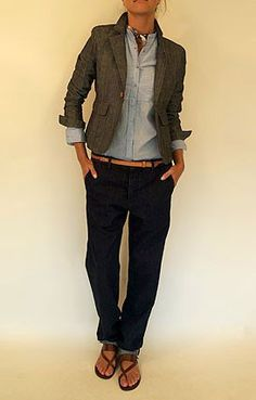 I'd probably would have had a different blazer but the cut looks great - the skinny belt adds some geometric lines & balance to the look.