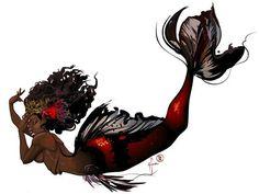 """Mami Wata: Koimaid Queen"", illustrated by @doctafoo ✴ PLEASE TAG THE ARTIST WHEN REPOSTING THIS ART ON YOUR PAGE ✴ #mermaid #rivergoddess #mamiwata #rivergod #mythology #illustration #painting #art #african #africa #africangoddess #naturalhair #blackwoman #blackgoddess #blackbeauty #fantasyart #fantasy #fish #fishes #sea #undersea #mamiwatamancy #nubian #ilovefantasyart #mermaids #mermaidians #darkskinned #darkskin"