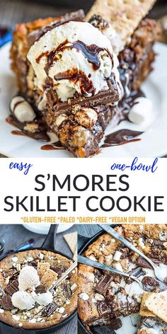 This S'mores Skillet Cookie is made with a soft and chewy cookie dough, melted chocolate filling, graham crackers and gooey marshmallows. Freezer-friendly, gluten-free, dairy-free, refined sugar-free, paleo and the perfect healthier treat when you're craving s'mores without the campfire. Serve warm with a scoop of dairy-free ice cream for the ultimate summer treat!