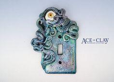 Watercolor Octopus Light Switch Cover with Eye sculpture decor home decor housewares bathroom beach tentacle handmade metallic ooak cover